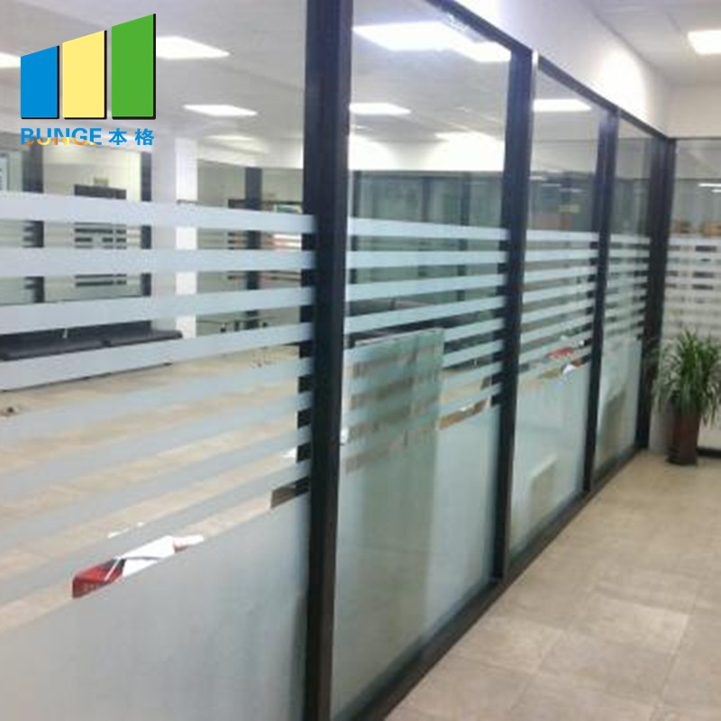 Commercial Office Aluminium Frame Fixed Single Glass Partition Wall