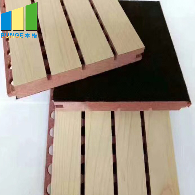 Decorative Interior Sound Insulation Board Conference Hall Wooden Grooved Acoustic Panel