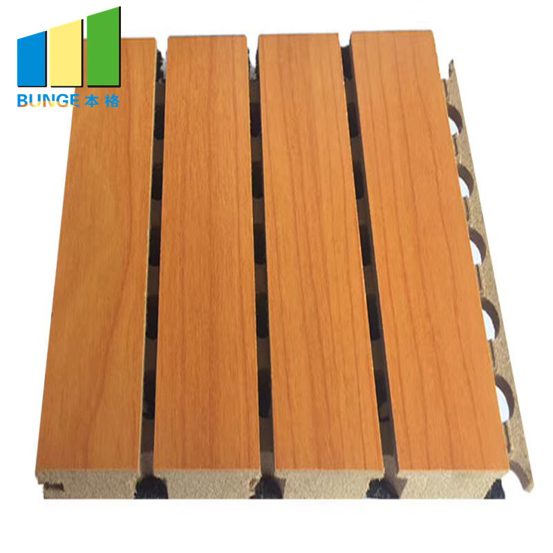 Fireproof Grooved Board Ceiling Auditorium Wood Acoustic Panel