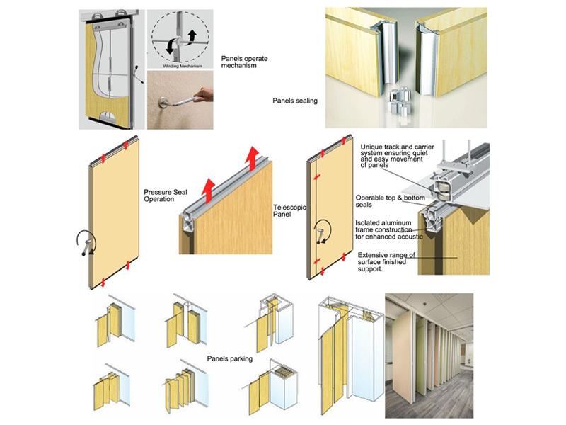 sliding partition walls wooden modern lightweight Warranty Bunge