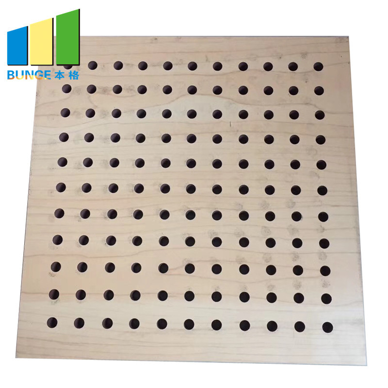 Decorative Interior Fireproof Materiral Auditorium Wooden Perforated Acoustic Panels