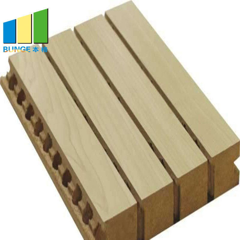 Sound Proofing Building Material Wooden Grooved Acoustic Wall Panels for Auditorium
