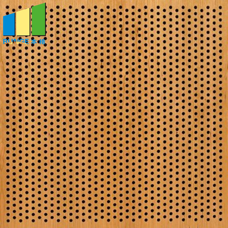 Fiberglass Ceiling Board Sound And Fire Insulated Perforated Wooden Decorative Acoustic Wall Panels