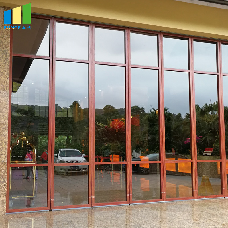 Sliding Aluminium Frame Office Movable Glass Partition Wall