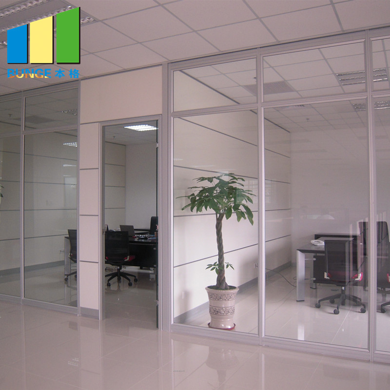 Aluminium Frame Decorative Tempered Office Solid Glass Partition Wall