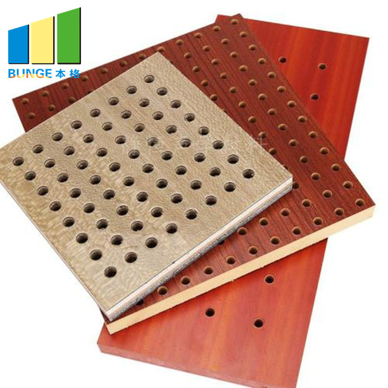 Sound Insulation Fireproof Auditorium Perforated Wood Acoustic Panels