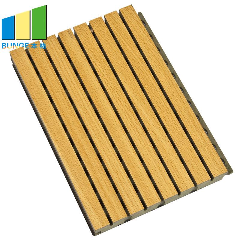 Fireproof Veneer Ceiling Sound Absorbing Wall Boards Cinema Wood Grooved Acoustic Panels