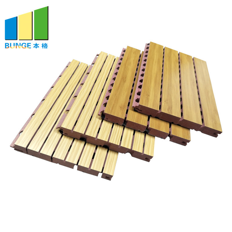 Fire Resistance and Sound Absorbing Material Grooved Timber Wood Acoustic Panels
