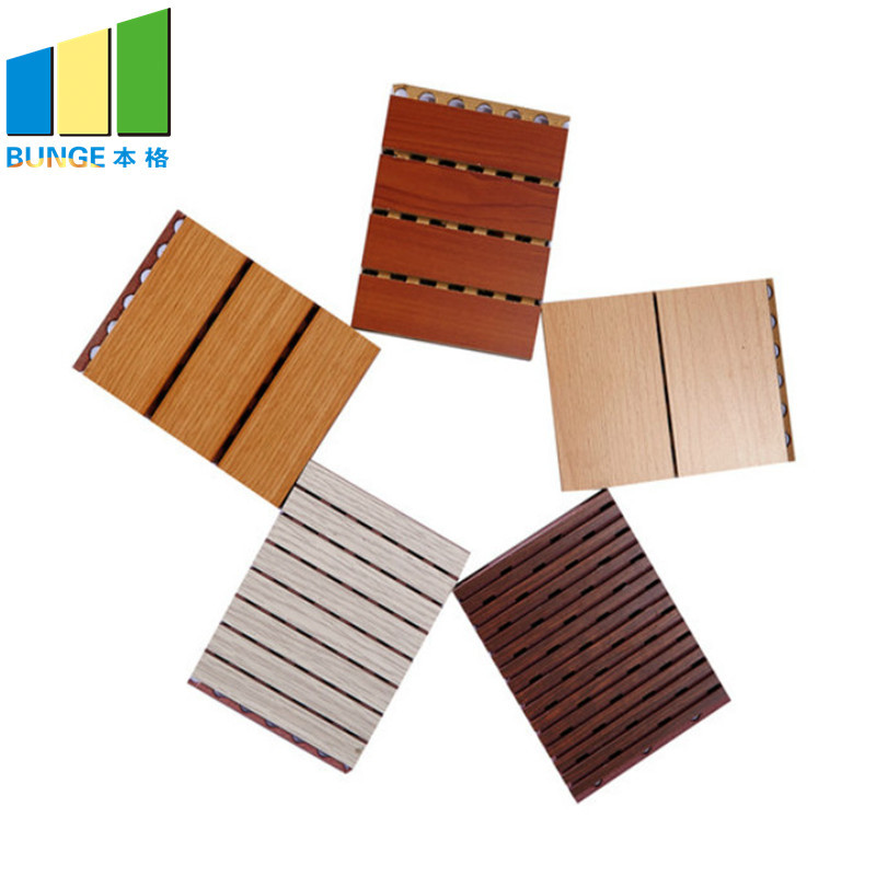 Wooden Acoustic Wall Boards Material for Auditorium Fireproof Grooved Wooden Acoustic Panels