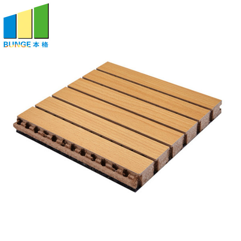 MDF Decorative Acoustic Wooden Grooved Ceiling Wall Panels for Interior Sound Absorption
