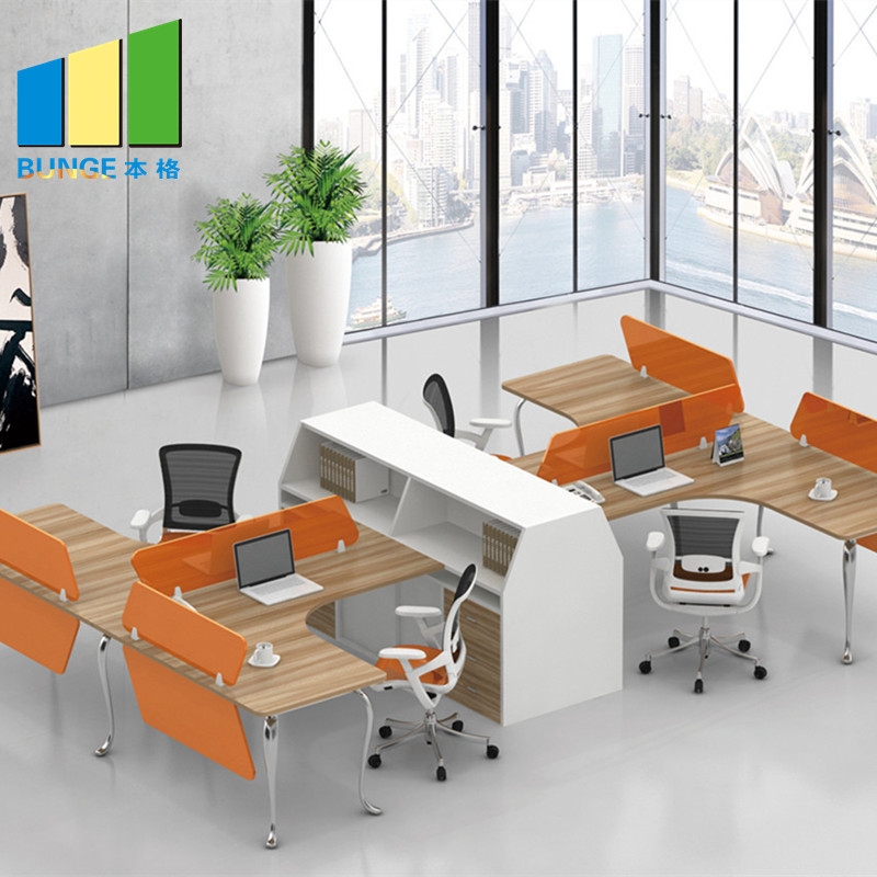 Modern Type Furniture 4 Seat Office Partition Cubicle Workstation