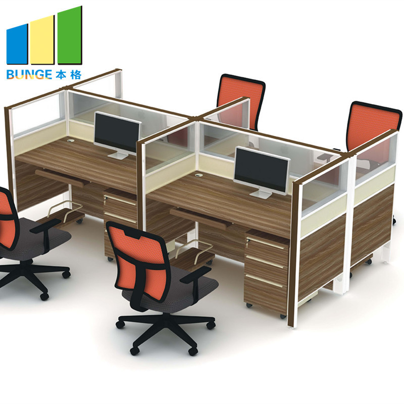Frosted Glass and Metal Board Desk Open Office Workstation for 4 person
